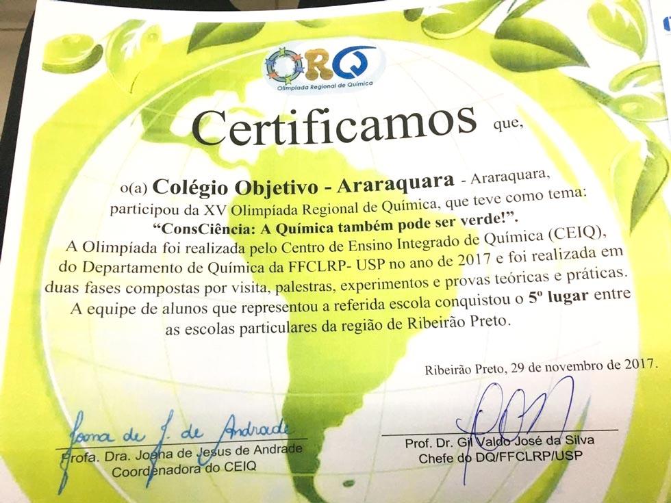 Conquistas reforçam a tradição do Objetivo Araraquara em Olimpíadas do Conhecimento