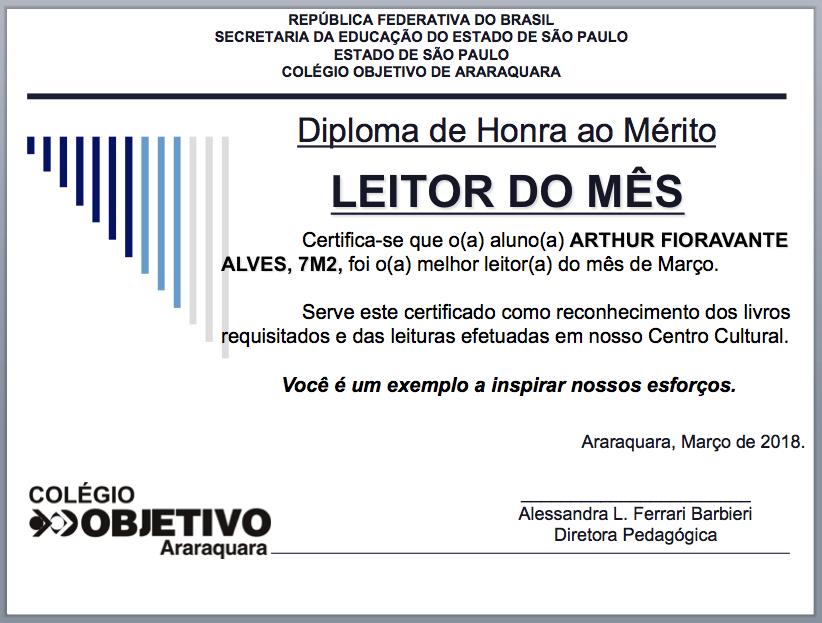 Certificado de Leitor do Mês